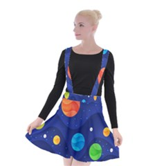 Planet Space Moon Galaxy Sky Blue Polka Suspender Skater Skirt
