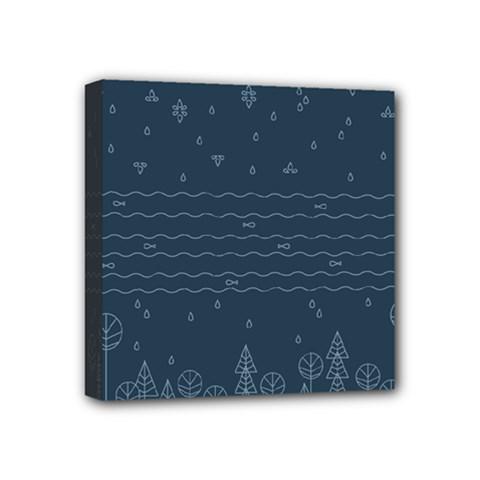 Rain Hill Tree Waves Sky Water Mini Canvas 4  X 4