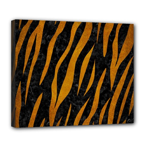 Skin3 Black Marble & Yellow Grunge (r) Deluxe Canvas 24  X 20