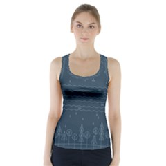 Rain Hill Tree Waves Sky Water Racer Back Sports Top