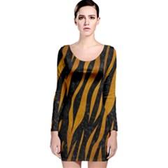 Skin3 Black Marble & Yellow Grunge (r) Long Sleeve Velvet Bodycon Dress
