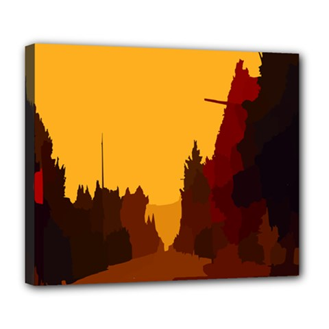 Road Trees Stop Light Richmond Ace Deluxe Canvas 24  X 20