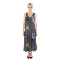 Random Doodle Pattern Star Sleeveless Maxi Dress