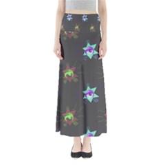 Random Doodle Pattern Star Full Length Maxi Skirt