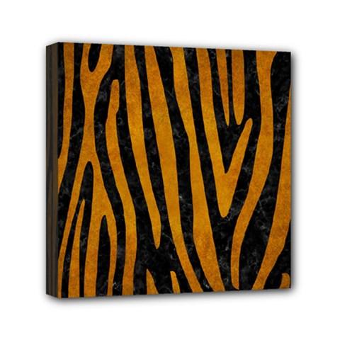 Skin4 Black Marble & Yellow Grunge Mini Canvas 6  X 6