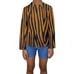 Skin4 Black Marble & Yellow Grunge Kids  Long Sleeve Swimwear