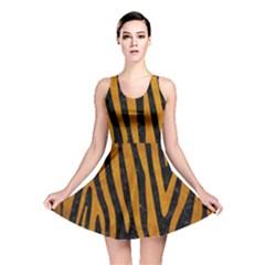 Skin4 Black Marble & Yellow Grunge Reversible Skater Dress