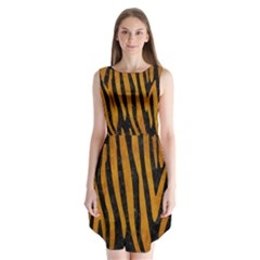 Skin4 Black Marble & Yellow Grunge Sleeveless Chiffon Dress