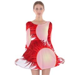 Rambutan Fruit Red Sweet Long Sleeve Velvet Skater Dress