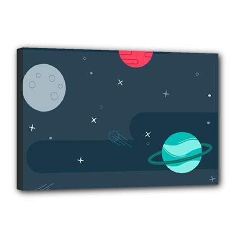 Space Pelanet Galaxy Comet Star Sky Blue Canvas 18  X 12