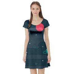Space Pelanet Galaxy Comet Star Sky Blue Short Sleeve Skater Dress