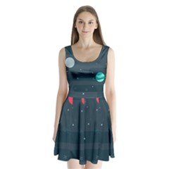 Space Pelanet Galaxy Comet Star Sky Blue Split Back Mini Dress