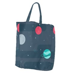 Space Pelanet Galaxy Comet Star Sky Blue Giant Grocery Zipper Tote