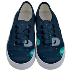 Space Pelanet Galaxy Comet Star Sky Blue Kids  Classic Low Top Sneakers
