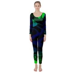 Spectrum Sputnik Space Blue Green Long Sleeve Catsuit