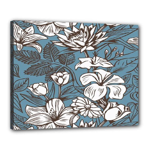 Star Flower Grey Blue Beauty Sexy Canvas 20  X 16