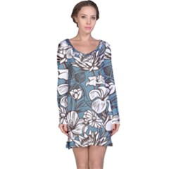 Star Flower Grey Blue Beauty Sexy Long Sleeve Nightdress