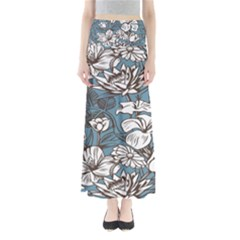 Star Flower Grey Blue Beauty Sexy Full Length Maxi Skirt