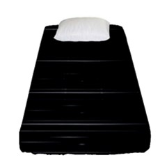 Stripes Black White Minimalist Line Fitted Sheet (single Size)