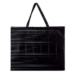 Stripes Black White Minimalist Line Zipper Large Tote Bag