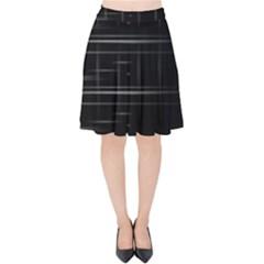 Stripes Black White Minimalist Line Velvet High Waist Skirt