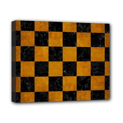 Square1 Black Marble & Yellow Grunge Canvas 10  X 8