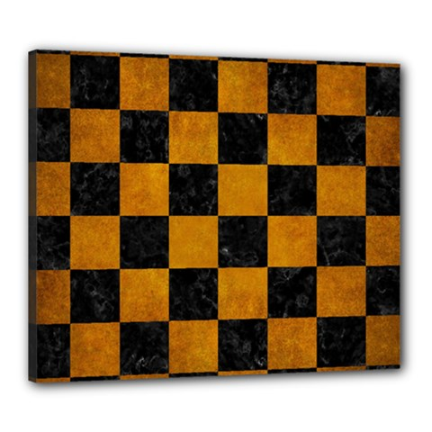 Square1 Black Marble & Yellow Grunge Canvas 24  X 20