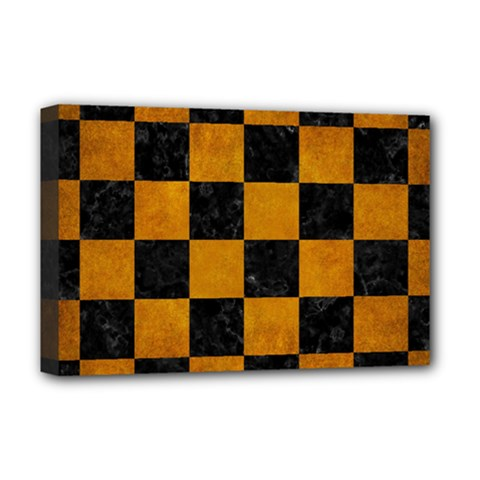 Square1 Black Marble & Yellow Grunge Deluxe Canvas 18  X 12