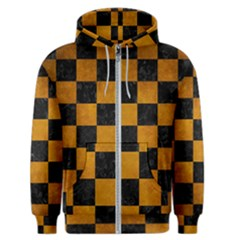 Square1 Black Marble & Yellow Grunge Men s Zipper Hoodie