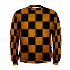 Square1 Black Marble & Yellow Grunge Men s Sweatshirt