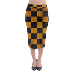 Square1 Black Marble & Yellow Grunge Midi Pencil Skirt