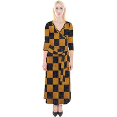 Square1 Black Marble & Yellow Grunge Quarter Sleeve Wrap Maxi Dress