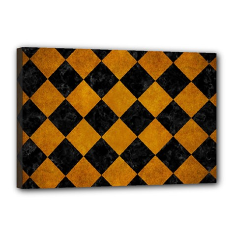 Square2 Black Marble & Yellow Grunge Canvas 18  X 12