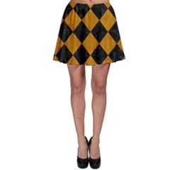 Square2 Black Marble & Yellow Grunge Skater Skirt