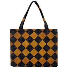 Square2 Black Marble & Yellow Grunge Mini Tote Bag