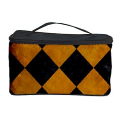 Square2 Black Marble & Yellow Grunge Cosmetic Storage Case