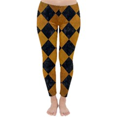 Square2 Black Marble & Yellow Grunge Classic Winter Leggings