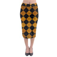Square2 Black Marble & Yellow Grunge Midi Pencil Skirt