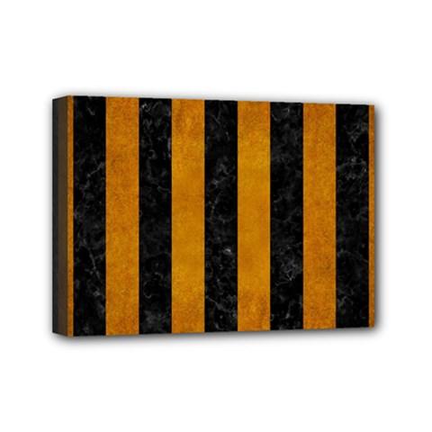 Stripes1 Black Marble & Yellow Grunge Mini Canvas 7  X 5
