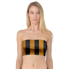Stripes1 Black Marble & Yellow Grunge Bandeau Top