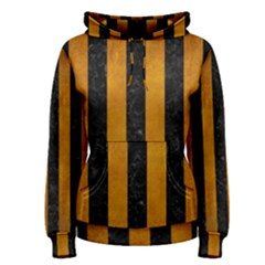 Stripes1 Black Marble & Yellow Grunge Women s Pullover Hoodie