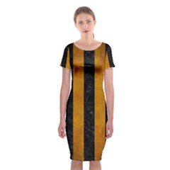Stripes1 Black Marble & Yellow Grunge Classic Short Sleeve Midi Dress