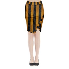 Stripes1 Black Marble & Yellow Grunge Midi Wrap Pencil Skirt