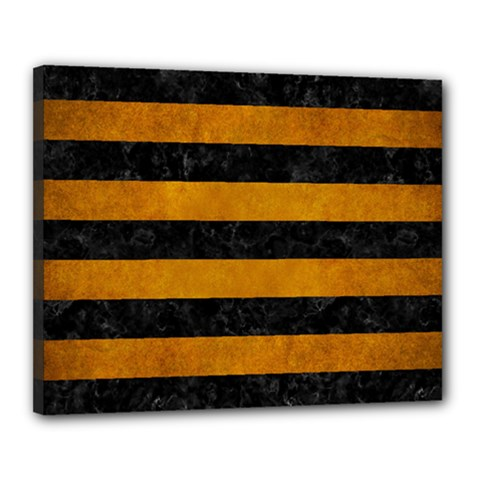 Stripes2 Black Marble & Yellow Grunge Canvas 20  X 16