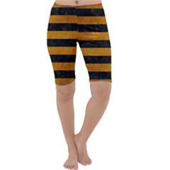 Stripes2 Black Marble & Yellow Grunge Cropped Leggings