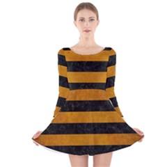 Stripes2 Black Marble & Yellow Grunge Long Sleeve Velvet Skater Dress