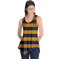 Stripes2 Black Marble & Yellow Grunge Sleeveless Tunic
