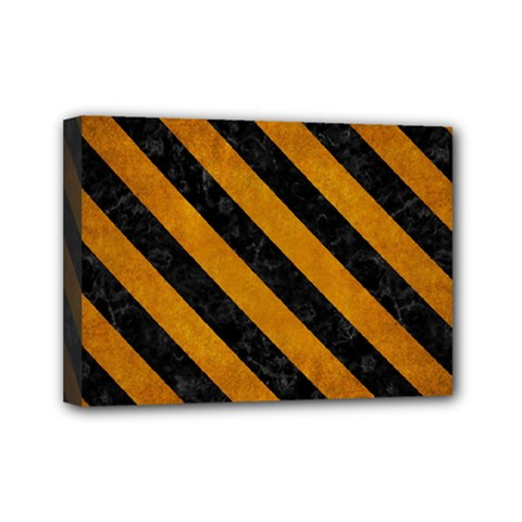 Stripes3 Black Marble & Yellow Grunge Mini Canvas 7  X 5