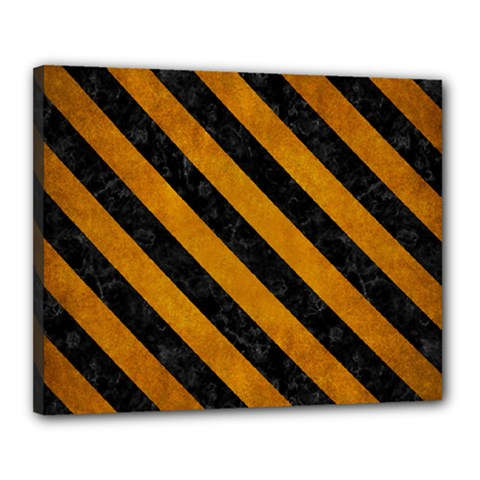 Stripes3 Black Marble & Yellow Grunge Canvas 20  X 16