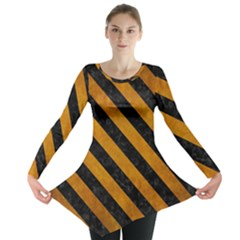 Stripes3 Black Marble & Yellow Grunge Long Sleeve Tunic